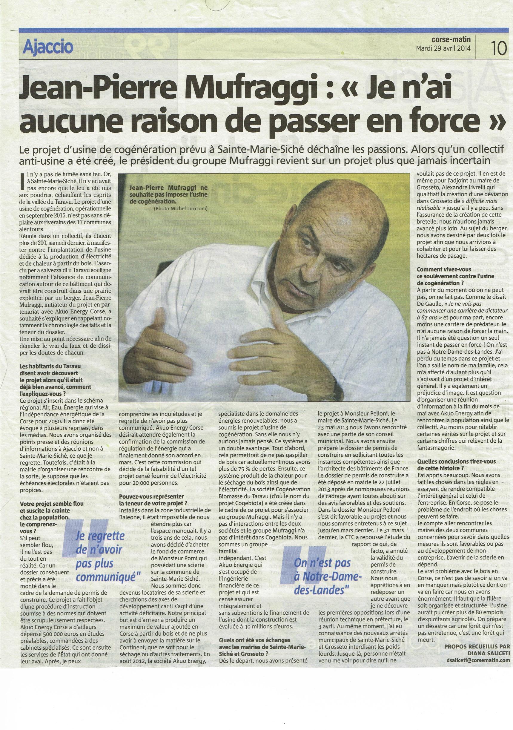 Interview de Jean-Pierre Mufraggi dans Corse Matin sur le projet d'unité de cogénération de Sainte Marie Siché