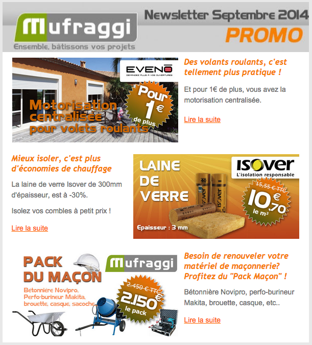 Newsletter Promotions Septembre 2014