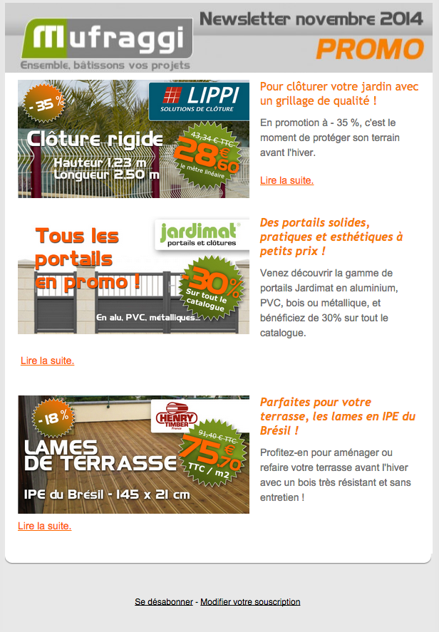 Newsletter Promotions Novembre 2014