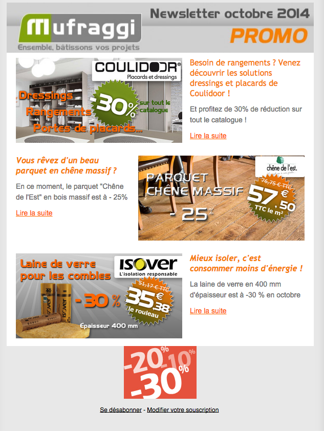 Newsletter Promotions Octobre 2014