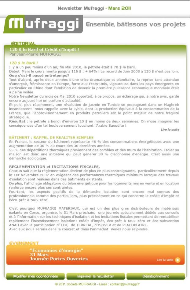 Newsletter Mars 2011
