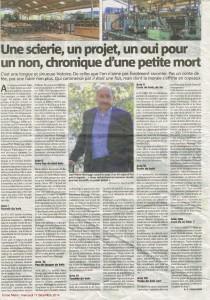 Article de Corse Matin sur la fermeture de la scierie de Sainte Marie siché